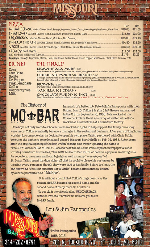 Missouri Bar and Grille's Menu Page 2